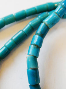 Turquoise White Heart 2.7mm Venetian Glass Bead Necklace