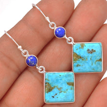 Load image into Gallery viewer, Turquoise Earrings with Lapis Lazuli