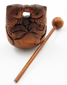 Two Fish Gong Japanese Boxwood Netsuke Bead
