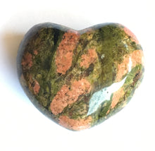 Load image into Gallery viewer, Unakite Heart 45mm wide puffy heart