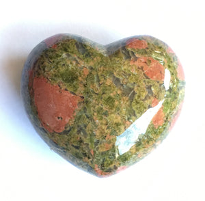 Unakite Heart 45mm wide puffy heart