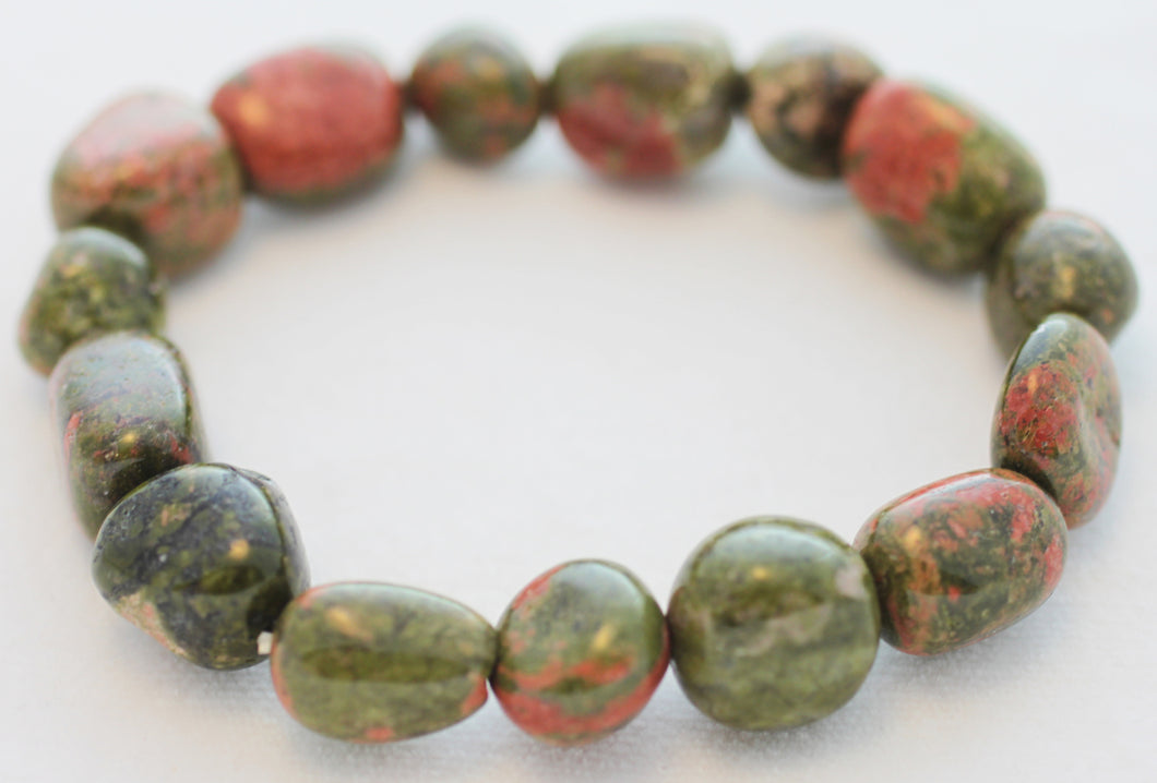 Unakite Tumbled Pebble Stretch Bracelet