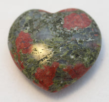 Load image into Gallery viewer, Unakite Heart Slightly Puffed Heart 40mm wide