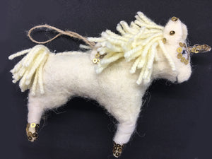 Unicorn Ornament with Jute String