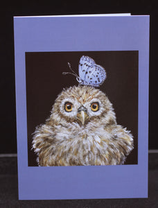 Vicki Sawyer Notecards Owlet with Butterfly