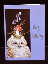 Load image into Gallery viewer, Vicki Sawyer Birthday Card Owlet with Red Toadstool