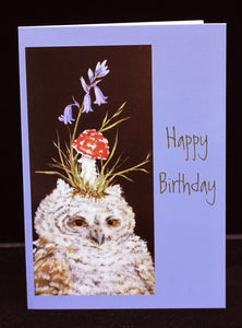 Vicki Sawyer Birthday Card Owlet with Red Toadstool
