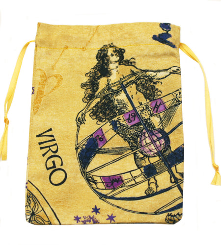 Virgo Zodiac Sign Cotton Drawstring Bag for Your Tarot Deck
