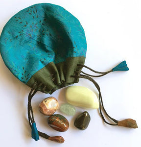 Healing Stones - Master set of five stones in a silk sari drawstring pouch
