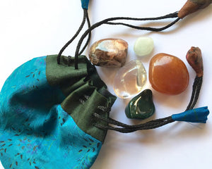 Healing Stones - Starter set of five stones in a silk sari drawstring pouch