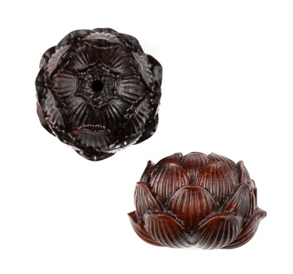 Large Lotus Ojime Bead Sandalwood Bead
