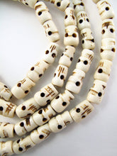Load image into Gallery viewer, Water Buffalo Bone Skull Mala Prayer Beads 62 inch long.  Embrace the power of Kali