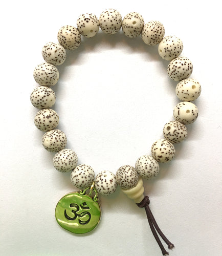 White Lotus Seed Mala Bracelet with Gold-Tone Om Charm