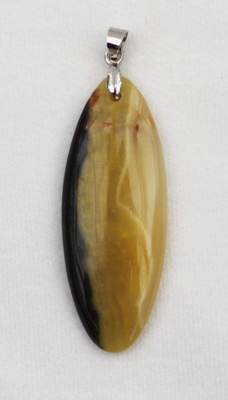 Yellow Opal Pendant with Silver Bail