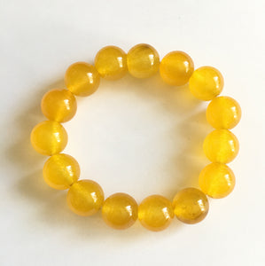Yellow Jade 12mm Bead Bracelet