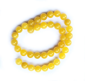 Yellow Jade Beads 15 inch strand of 10mm Beads (Nephrite)
