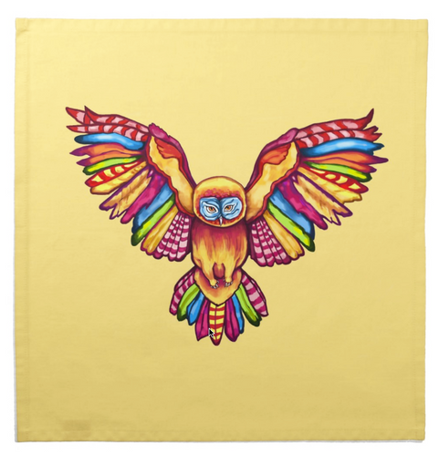 Tarot Cloth Psychedelic Tribal Owl Design in Yellow