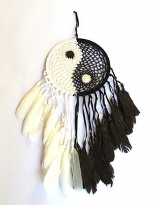 Beaded Dreamcatcher - Yin Yang Dreamcatcher - Black and White Dreamcatcher