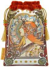 Load image into Gallery viewer, Mucha Astrologer Queen of Swords Tarot Bag made from Vietnamese Silk in Burnt Orange