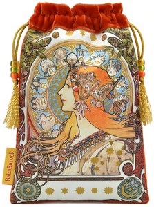 Mucha Astrologer Queen of Swords Tarot Bag made from Vietnamese Silk in Burnt Orange