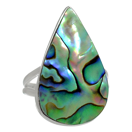 Paua Abalone Shell Teardrop Size 6.5 Ring aka Mother-of-Pearl