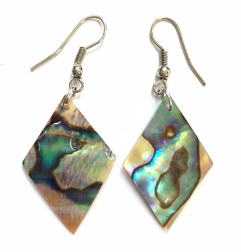 Abalone Earrings for heart and spinal strength - rhombus earrings
