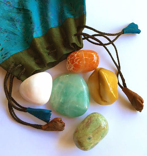 Adventure Stones master set of five stones in a silk sari drawstring pouch