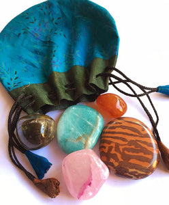 Adventure Stones starter set of five stones in a silk sari drawstring pouch