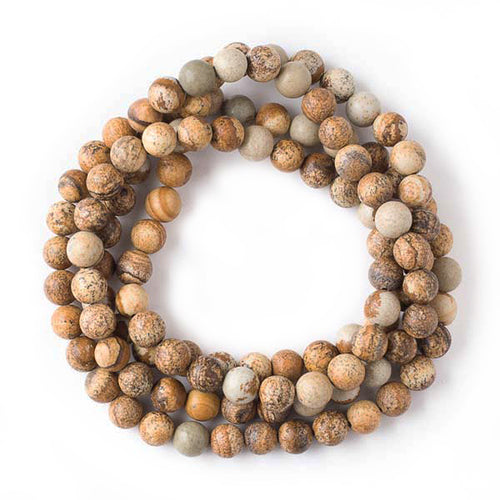 African Queen Picture Jasper 8mm Round Beads for Stringing Your Own Mala