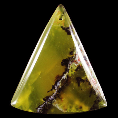 African Green Opal Bead exceptionally translucent puffy triangular