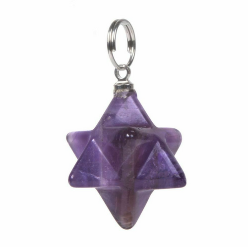 Amethyst Merkaba Pendant - Sacred Geometry Star of David