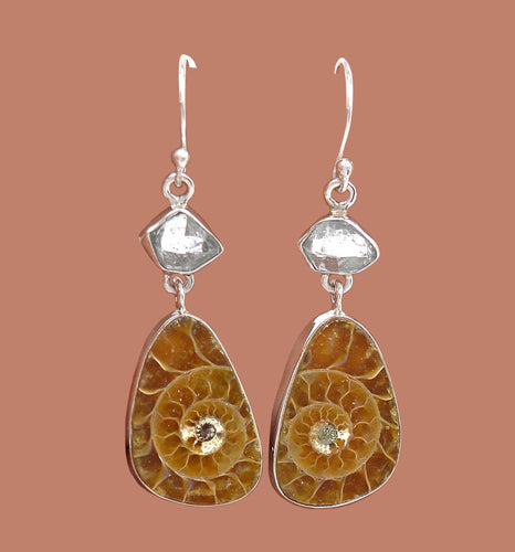 Ammonite Earrings Silver with Herkimer Diamonds Sacred Geometry