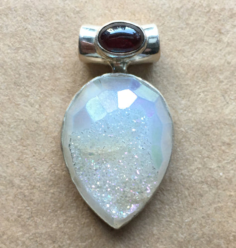 Angel Aura Platinum Quartz Druzy Faceted Pendant with Pink Tourmaline Tube Bail