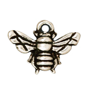 Honey Bee Pendant or Charm in Antique Silver from TierraCast