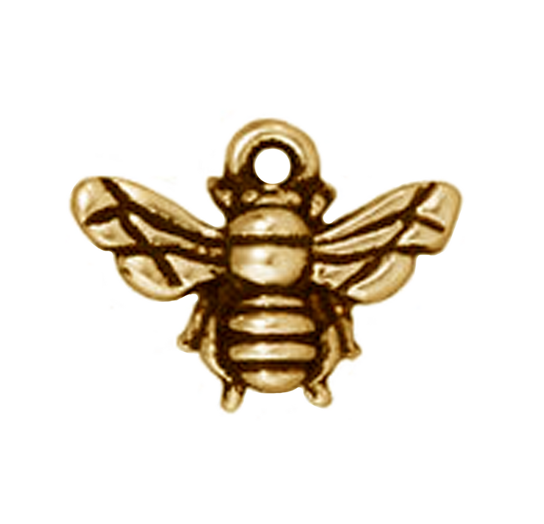 Antique Gold Honey Bee Pendant or Charm from TierraCast