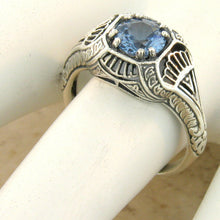 Load image into Gallery viewer, Aquamarine Ring Art Deco ring size 7.75