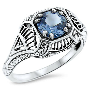 Aquamarine Ring Art Deco ring size 7.75