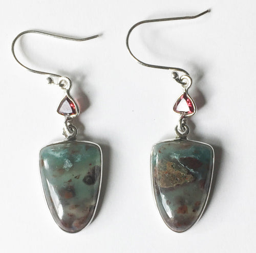 Aquamarine in Sunstone Earrings with Garnets in sterling silver frames