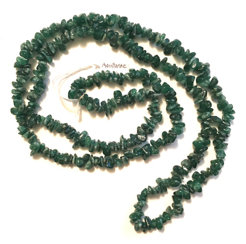 Aventurine Natural Gemstone Chip Necklace - nice dark green Aventurine