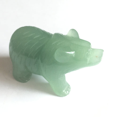 Green Aventurine Bear Figurine with fine detail
