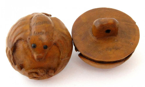 Bat Ball Button in the Ojime Tradition Hand-carved Boxwood