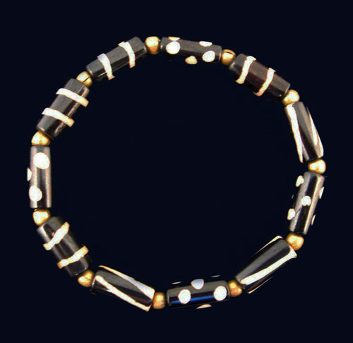 Batik Bone Beads Bracelet with Round Brass Beads - Small Size