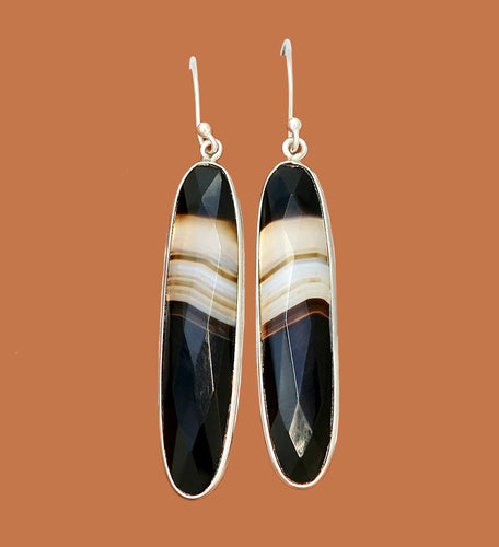 Black Botswana Agate Earrings in faceted elongated ovals