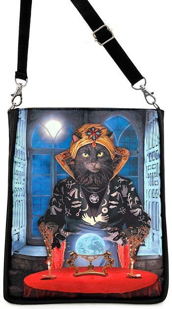 Black Cat Fortune Teller Large Shoulder Pouch