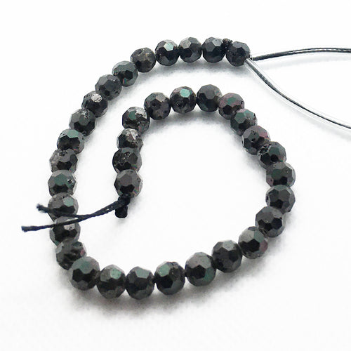 Black Agate 6mm Round Beads with Druzy