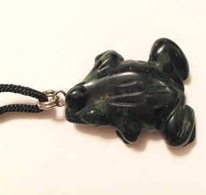 Black Tourmaline Pendant that is a Frog Amulet on Black Cord aka Frog Fetish