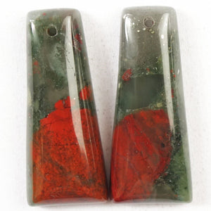 Bloodstone Beads! Rounded Trapezoid Earring Beads