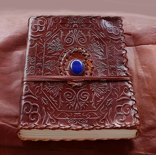 Blue Stone Embossed Leather Journal