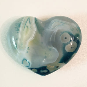 Blue Agate Puffy Heart No. 32