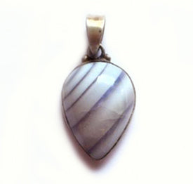 Blue Banded Agate Pendant with silver bail.